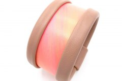 Collezione Texture - Bangle in pelle dipinta a mano - Coral pink