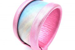 Collezione Texture - Bangle in pelle dipinta a mano - Pink rainbow